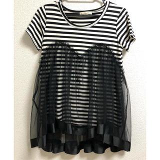 スリーフォータイム(ThreeFourTime)のThree Four Time チュールレイヤードボーダーTシャツ(Tシャツ(半袖/袖なし))