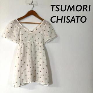 ツモリチサト(TSUMORI CHISATO)のTSUMORI CHISATO ドクロ 刺繍 シースルー コットン ブラウス(シャツ/ブラウス(半袖/袖なし))
