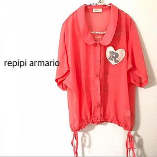レピピアルマリオ(repipi armario)のレピピアルマリオ オレンジ シースルーシャツ M 半袖 ブラウス レディース(シャツ/ブラウス(半袖/袖なし))