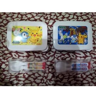 ポケモン(ポケモン)の新品 ポケモン 弁当箱&スプーン&フォーク付 2個 水色・黄色(弁当用品)