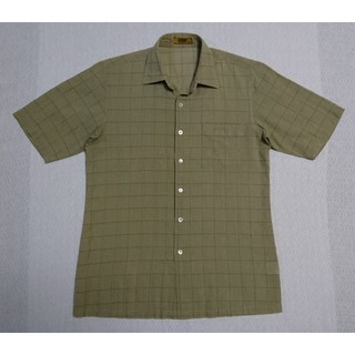 アラミス(Aramis)の夏秋物☆ARAMIS 半袖シャツ Mサイズ グリーン 金糸 格子柄 緑 アラミス(シャツ)
