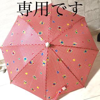 ファミリア(familiar)のレトロ familiar 赤チェック 傘 レア(傘)