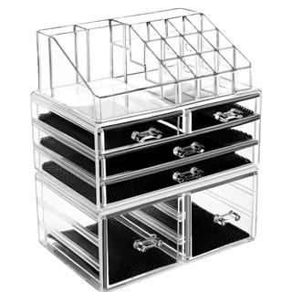 超大容量 化粧品収納ボックス 透明アクリル HBLIFE コスメ収納ボックス(メイクボックス)