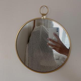 フランフラン(Francfranc)の新品 ウォールミラー アンティーク 壁掛け 鏡 ゴールド 韓国インテリア 北欧(壁掛けミラー)