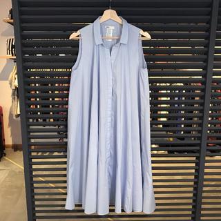 ダブルスタンダードクロージング(DOUBLE STANDARD CLOTHING)の超美品 ダブルスタンダードクロージング ダブスタ シャツワンピース 水色(ロングワンピース/マキシワンピース)