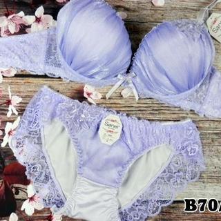 028★B70 M★美胸ブラ ショーツ 谷間メイク ラメシフォン 薄紫(ブラ&ショーツセット)