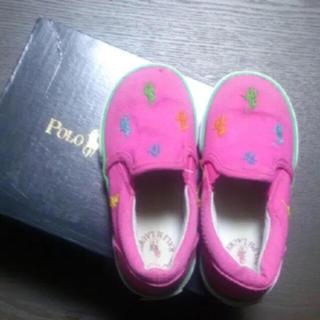ラルフローレン(Ralph Lauren)のあらいぐま様専用☆子供靴、スリッポン、14センチ、濃いピンク、オシャレ!(スリッポン)