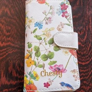 チェスティ(Chesty)の新品 未使用 Chesty 汎用 スマホケース カード入れあり 鳥3匹 花柄(モバイルケース/カバー)