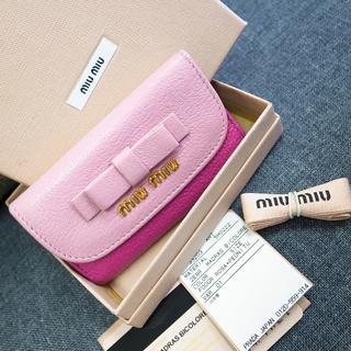 ミュウミュウ(miumiu)の正規品☆ミュウミュウ キーケース ピンク リボン バッグ 財布 小物(キーケース)