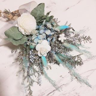 【なーちゃん様専用】 3種のフラワー × WHITE BLUE スワッグ ブーケ(ドライフラワー)