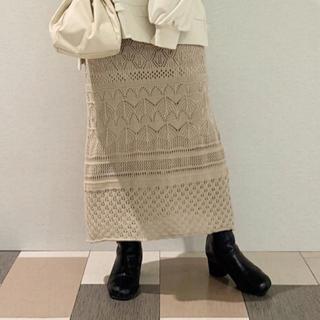 ディスコート(Discoat)のDiscoat スカシ 編み ニット ロング スカート(ロングスカート)