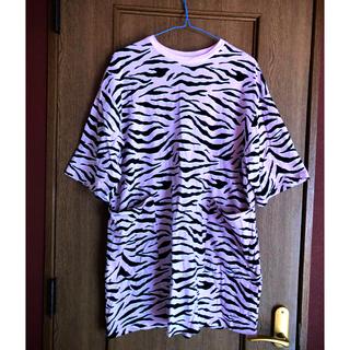 エイチアンドエイチ(H&H)のH&M ピンクゼブラ Tシャツワンピ(Tシャツ(半袖/袖なし))