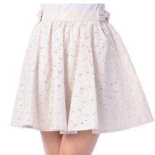 リズリサ(LIZ LISA)の【未使用】フラワー刺繍ストライプスカート(ミニスカート)