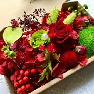 情熱レッドローズ&グリーンローズFlower Garden*ハーバリウム花材(ドライフラワー)