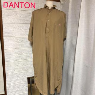ダントン(DANTON)の☆週末限定価格☆ DANTON   ベージュ 半袖シャツワンピース ダントン(ひざ丈ワンピース)