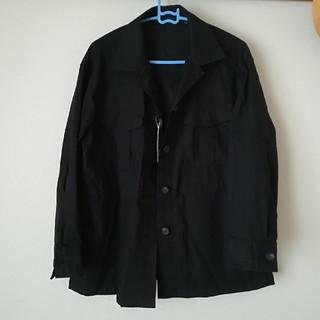 ユニクロ(UNIQLO)の新品リネンコットンシャツジャケットM黒(その他)