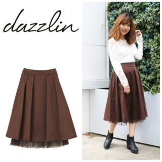 ダズリン(dazzlin)の【ダズリン】裾チュールフレアスカート☆ブラウン☆フリーサイズ(ひざ丈スカート)