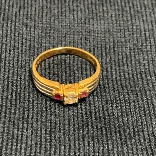 デザインリング ダイヤ ルビー pt  18K(リング(指輪))