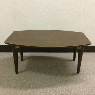 ムジルシリョウヒン(MUJI (無印良品))の無印良品  パイン材ローテーブル・折りたたみ式 オマケ:ロフト 購入 可愛い置物(折たたみテーブル)