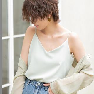 フィフス(fifth)の美品♡fifth♡サテンストリングキャミソール♡ライトグリーン(キャミソール)