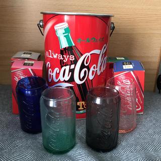 コカコーラ(コカ・コーラ)のCoca-Cola オリンピック記念缶 & 缶型グラス4個(ノベルティグッズ)