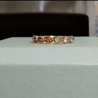 K10ピンクゴールド ☆天然石☆ ミル打ちデザイン アミュレットピンキーリング(リング(指輪))