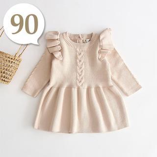 80cm~90cm|ベージュ〔肩フリルAラインニットワンピース〕女の子 ベビー服(ワンピース)
