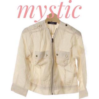 ミスティック(mystic)のmystic【美品】透け素材 五分袖 ジップアップ ブルゾン ジャンパー(ブルゾン)