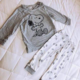 エイチアンドエム(H&M)のH&M スヌーピー パジャマ セットアップ グレー 総柄 80(パジャマ)