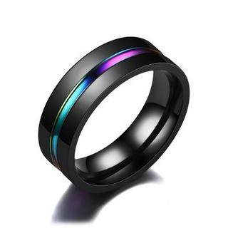 指輪 ステンレスリング レインボー ブラック(リング(指輪))