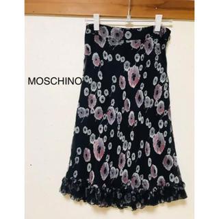 モスキーノ(MOSCHINO)のMOSCHINO 花柄スカート 38(ひざ丈スカート)
