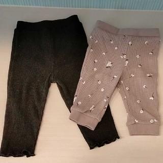 80サイズ ベビーパンツ ズボン スパッツ 2着セット(パンツ)