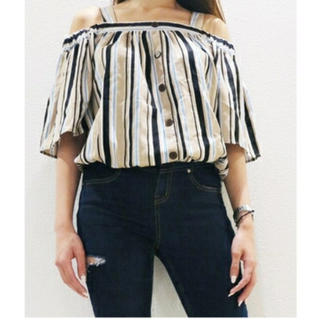 エゴイスト(EGOIST)のエゴイスト ストライプオフショルTOP(Tシャツ/カットソー(半袖/袖なし))