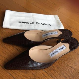 MANOLO BLAHNIK - マノロブラニク  クロコダイル ミュール