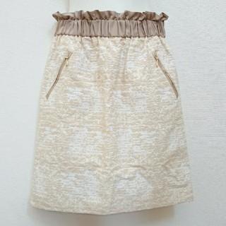 ランバンオンブルー(LANVIN en Bleu)のランバンオンブルー タイトスカート ウォール柄スカート ウエストギャザースカート(ひざ丈スカート)