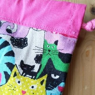 猫の巾着袋(バッグ/レッスンバッグ)