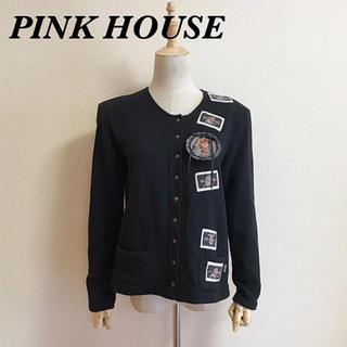 ピンクハウス(PINK HOUSE)のPINK HOUSE ロゴ入りスウェットカーディガン サイズL(カーディガン)