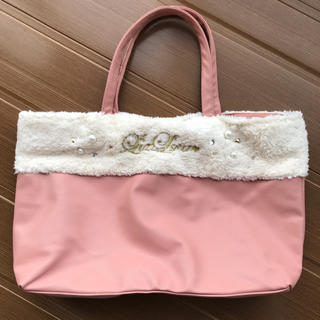 リズリサ(LIZ LISA)のLIZLISA【新品】パール&ファー付 トートバッグ  ピンク(トートバッグ)
