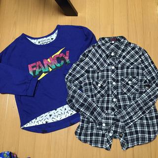 シマムラ(しまむら)の140㎝七分袖T&チェックシャツ2点美品(Tシャツ/カットソー)