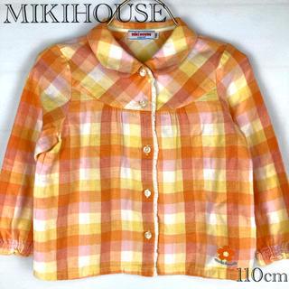 ミキハウス(mikihouse)の【MIKIHOUSE】ガーゼ生地 丸襟 チェックシャツ  アップリケ(ブラウス)