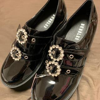 バブルス(Bubbles)のダブルバックル厚底シューズブラック39(ローファー/革靴)