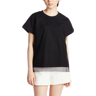 エモダ(EMODA)の〈未使用に近い〉emoda Tシャツ シフォンカットソー 黒 S(Tシャツ(半袖/袖なし))