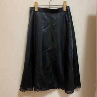 イーハイフンワールドギャラリーボンボン(E hyphen world gallery BonBon)のBonBon サテンミディスカート ブラック(ひざ丈スカート)