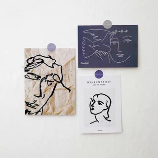 韓国インテリア 空間作り ハガキ ポストカード 3枚セット アートポストカード(その他)