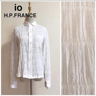 アッシュペーフランス(H.P.FRANCE)のio H.P.FRANCE シワ加工シャーリングブラウス サイズ2(シャツ/ブラウス(長袖/七分))