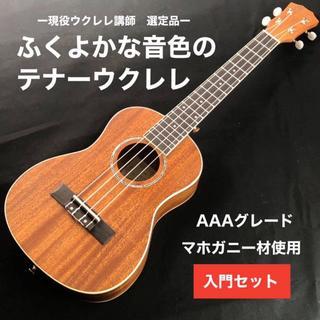 【プロ調整】kmise製・マホガニー材テナーウクレレ【入門セット】(その他)