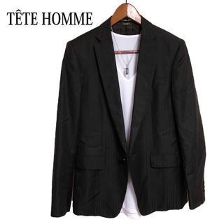 テットオム(TETE HOMME)のTETE HOMME テーラードジャケット 黒 ストライプジャケット 高級感(テーラードジャケット)