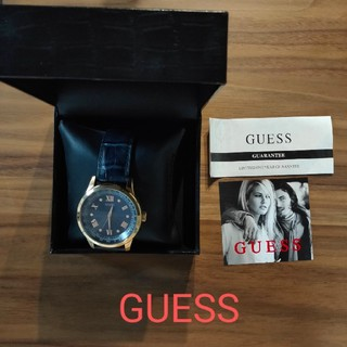 ゲス(GUESS)のGUESS 革ベルト ネイビー アナログ 腕時計(腕時計(アナログ))