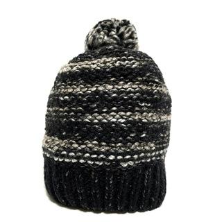 ディーゼル(DIESEL)のディーゼル ニット帽 ONLY ONE 黒×グレー(ニット帽/ビーニー)