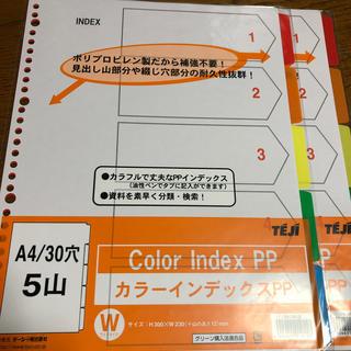 テージー カラーインデックスPP  A4 30穴 5山 2セット(ファイル/バインダー)